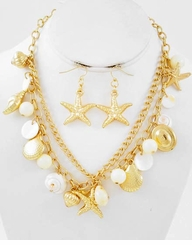 Gold Sealife Charm Necklace and Earring Set