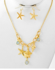 Gold Starfish Charm Necklace and Earring Set