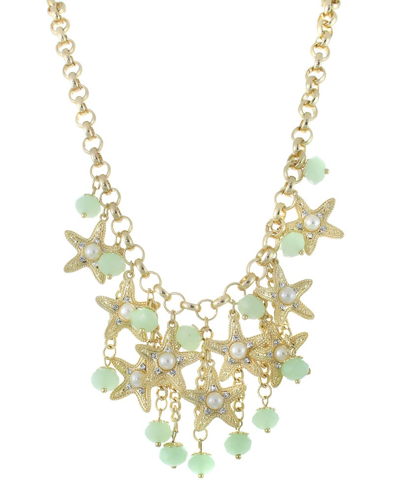 gold starfish mint glass pendant necklace