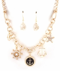 Gold Tone Anchor Charm Necklace Set