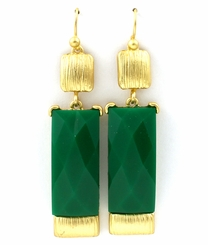 Gold Tone Green Formica Drop Earrings