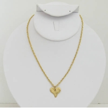 18k Gold Plated Hammered Heart pendant necklace -sold out