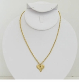 18k Gold Plated Hammered Heart pendant necklace
