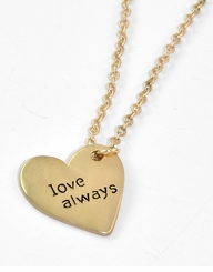 "Gold Tone Message Necklace ""Love Always"" Heart Necklace"