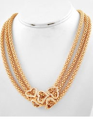 Gold Tone Mesh Multi Row Heart Necklace ONE LEFT