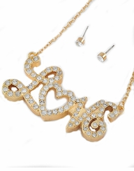 Gold Tone Rhinestone Love Script Pendant Necklace and Post Earrings SET
