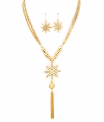 Gold Tone Tassel and Star Charm Necklace and Earring Set