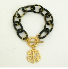 18K Gold Plated & Tortoise Universal Monogram Toggle bracelet SOLD OUT