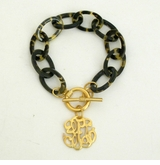 18K Gold Plated & Tortoise Universal Monogram Toggle bracelet