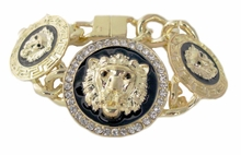 Gold Triple Lion Bracelet - Magnetic Closure