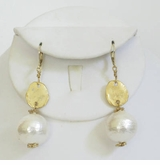 18K Gold Plated earring w/ White Cotton Pearl dangle - sold out