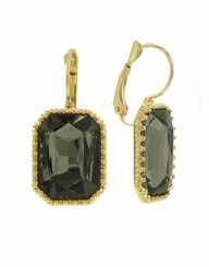Gold with Black Diamond Glass Rectangle Earrings