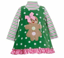 Toddler Girls Holiday DressGreen Gingerbread Fleece Jumper Dress