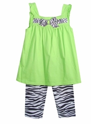 Green Knit Bow Dress with Zebra Print Legging