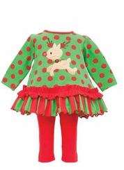 Green Red Dot Reindeer Dress with Leggings - Out of Stock