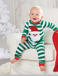 Green Stripes Santa Lounge Set: Mud Pie Infant or Toddler Christmas Pajamas