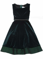 Green Velvet Sleeveless Dress - Special Occasion Dress
