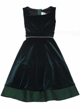 Green Velvet Sleeveless Dress - Special Occasion Dress - SOLD OUT
