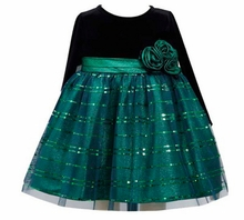 Green Velvet Sparkle Dress - Girls Holiday Dress - SOLD OUT