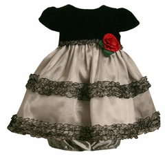 Grey and Black Infant Dress with Rose  24 month LAST ONE FINAL SALE