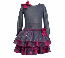 Grey Magenta Tiered Sparkle Dress - Girls Party Dress