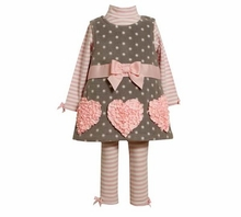 Bonnie Jean Pink Heart Valentine's Dress Legging Set