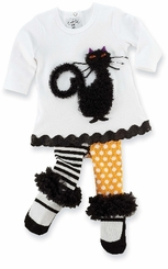Halloween Outfit - Black Cat Infant or Toddler Tunic Set