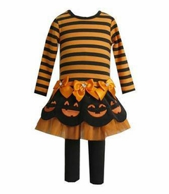 Halloween Smiling Pumpkins Tutu Tunic and Pant Set  4-6