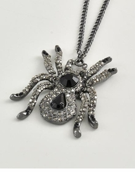 Halloween Spider Necklace Hematite and Silver Plated Rhinestone Necklace