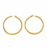 18K Gold Plated Hammered Twisted Hoop Earrings