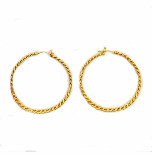 18K Gold Plated Hammered Twisted Hoop Earrings SOLD OUT