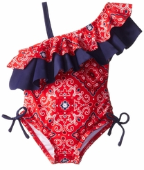 Hartstrings Little Girls' Girls' Medallion Print Assymetrical One Piece Bathingsuit - SOLD OUT