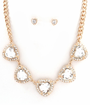 Heart Charm Gold Tone Curb Necklace Set