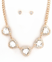Heart Charm Gold Tone Curb Necklace and Post Earring Set