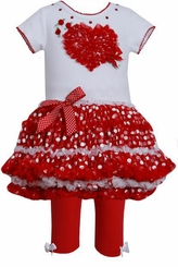 Heart Polka Dot Tutu Girl's Valentine's Day Legging Set