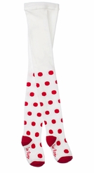 Le Top Little Girls Red Polka Dot TIghts