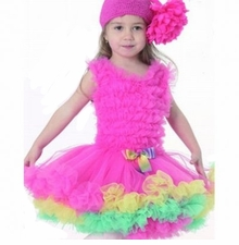Hot Pink Candy Ruffled Girls PETTIDRESS