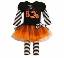 Baby Toddler Girls Halloween Tutu Outfit I Love Boo