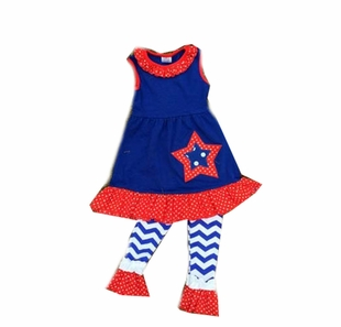 In Fashion Little Girls Kids 4th of July Sleeveless Pant Set