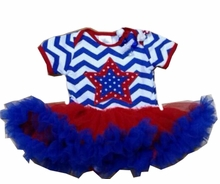In Fashion Kids Baby Girl Patriotic Star Onesie Dress Set