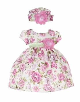 In Fashion Kids Baby Girls' Lavender Bouquet Flower Jacquard Dress & Hat - SOLD OUT