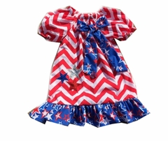 In fashion Kids Little Girls Chevron 4th July Dress Star Spangled Banner Patriotic Chevron Dress