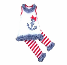In Fashion Kids Little Girls Red Stripe Anchor Capri/Pant Set