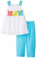 Infant Baby Girls Triple Butterfly Clipdot Capri Set