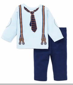 Infant Boys Clothes - Light Blue Knit Suspender Tee and Pant Set