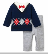 Infant Boys Grey Navy Argyle Pant Set