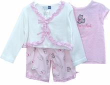 Vitamins Baby Baby Girls  Pink Ruffles And Puppy Pant Set