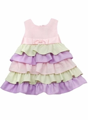 Infant Easter Dress : Pastel Color Tiered Dress With Satin Bow - SOLD OUT