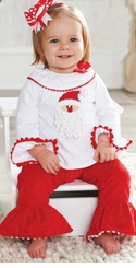 Mud Pie Minky Red Santa Pant Set : Girl's Holiday Pant Set