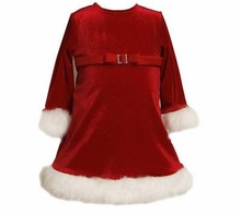 Infant Girls Christmas Dress - Red Sparkle Velour Fur Trim CLEARANCE